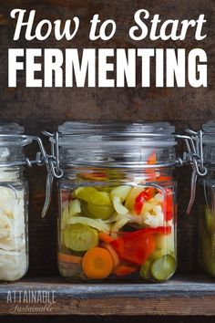 Get started with fermenting today! It's easy, and fermented foods are great for your gut. Lacto-fermentation is a great way to preserve some of your garden harvest or CSA box, too! Learn how to make fermented foods from fruits, vegetables, and even Fermentation Recipes, Canning Recipes, How To Make Fermented Foods, Fermented Fruit Recipe, Kimchi, Diet Recipes, Healthy Recipes, Healthy Food, Curtido
