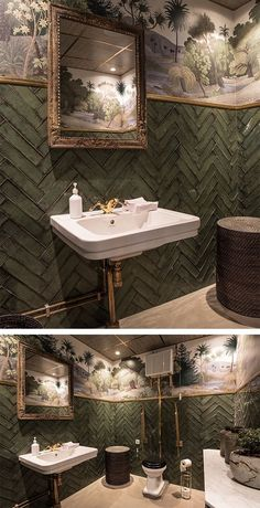 Make your restroom get all the attention! This jungle wallpaper makes a perfect match to the fishbone tiles in green, here at the restaurant Balthazar in Sweden. esszimmer fototapete Lush jungle wallpaper in this fabulous toilet Hallway Wallpaper, Office Wallpaper, Kids Room Wallpaper, Modern Wallpaper, Wallpaper Toilet, Interior Wallpaper, Small Toilet Room, Guest Toilet, Downstairs Toilet