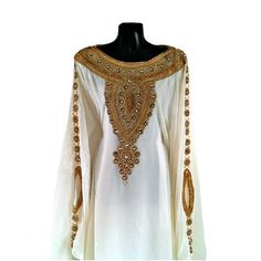 Egyptian Goddess Abaya Caftan, Gold Embellished Kaftan Dress, Kaftan Maxi Dress, Dubai Kaftan, Gold Beaded Evening Gown, Plus Size, S-XXXL