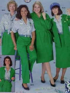 1980s We couldn't leave the Scouts officers out. To fit in with the decade's biggest trends, they had the option of wearing kelly green dresses, pants, or blazers — all with dropped shoulders. Another new addition? Green, white, and blue- striped blouses. Fun fact: The looks were designed by Bill Blass, a member of the Fashion Hall of Fame. GETTY IMAGES