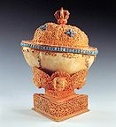 A nineteenth-century Tibetan skullcup/kapala made from the cranium of the scholar Tenpai Wanchug/Kedrup Chenpo; the empty skull symbolises impermanence and emptiness. (Himalayanart.org)
