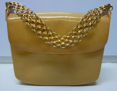 60s Purse in mustard patent by RODO by Vintageables on Etsy
