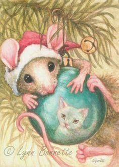 "Art by Lynn Bonnette: ""Mouse & Cat Reflection"""