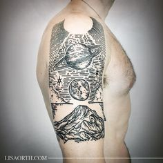 Piece for Sean based on the interconnectedness of outer space and the nature of earth , thanks for traveling to get tattooed. Ps planets look a little warped in this pic due to muscles... Artwork and photo © 2016 Lisa Orth. Do Not Duplicate.