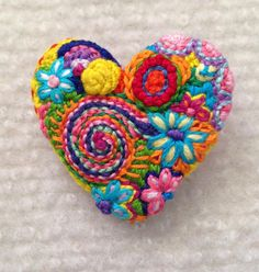 Freeform embroidery heart brooch  Brooch #142 by Lucismiles on Etsy