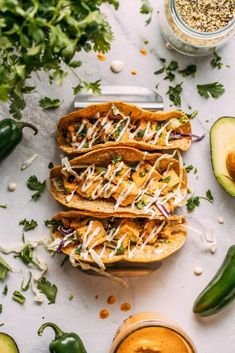 One thing you're gonna love about these NEW tacos is how you don't have to be vegan or plant-based or oil-free or gluten-free or anything to ❤ them... but you sure CAN be!   #buffalo #tofu #tacos #cabbage #cilantro #glutenfree #corn #tortillas #wholefoodplantbased #plantbased #oilfree #vegan #recipe Vegan Dinner Recipes, Vegan Dinners, Vegan Recipes Easy, Whole Food Recipes, Breakfast Recipes, Vegetarian Recipes, Free Recipes, Appetiser Recipes, Tofu Recipes