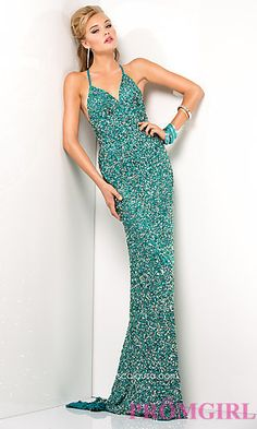In Cayenne or Teal - Long V-Neck Sequin Dress with Open Back by Scala at PromGirl.com