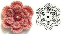 Tuto fleur crochet facile - modele gratuit                                                                                                                                                                                 Plus
