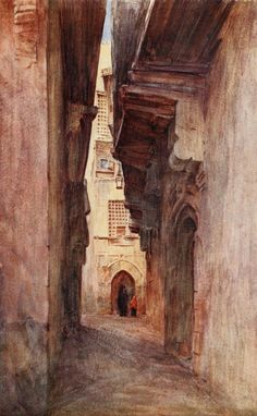 Tyndale, Walter (1855-1943) - Below the Cataracts 1907, A lane near the gate of Zuweyla. #egypt