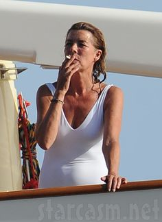 DON'T - smoking ages you - here is the proof  - Princess Caroline of Monaco smokes a cigarette