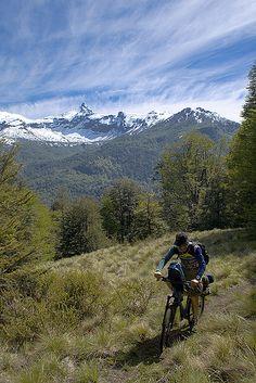 Mountain biking in Araucanía Region, Chile (by diegospatafore).