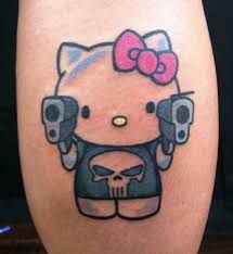 Pin for Later: The Cutest, Most Creative Hello Kitty Tattoos Punisher Kitty Punisher Tattoo, Body Art Tattoos, Sleeve Tattoos, Tatoos, Geek Tattoos, Kawaii Tattoos, Movie Tattoos, Skull Tattoos, Foot Tattoos