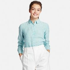 WOMEN PREMIUM LINEN PATTERNED LONG SLEEVE SHIRT | UNIQLO