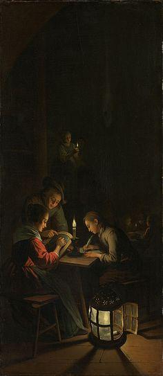 Willem Joseph Laquy: drieluik Allegorie op het kunstonderwijs: de nachtschool. Binnenkant linkerpaneel. ca. 1753 - 1798. Rijksmuseum, Amsterdam. Naar het drieluik van Gerard Dou dat in 1771 verloren is gegaan.