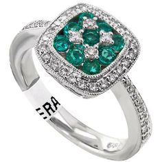Gorgeous .37 emerald and .3 diamond 14KT white gold ring.