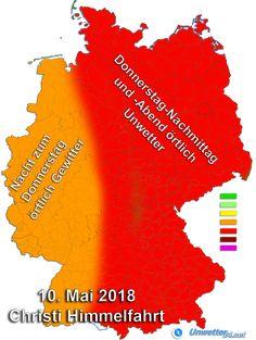 +++ Gewittergefahr im ganzen Land +++  Am Mittwoch, 09. Mai, und Donnerstag, 10. Mai, drohen immer wieder kräftige Schauer und Gewitter. Dabei sind lokal Unwetter möglich; ganz besonders am Donnerstag-Nachmittag und -Abend in der Osthälfte Deutschlands.  #Unwetter #Gewitter #Hagel #Platzregen #Schauer #Böen #Wetter