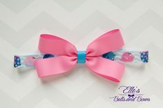 Handmade Pink Boutique Bow with Blue Ribbon Center on Pink and Blue Nautical Themed Elastic by EllesBellsandBows on Etsy