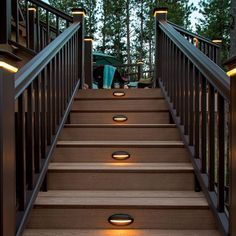 Stair lighting for deck Ultimate guide to landscape and backyard lighting ideas for We explain every type with photos and then have amazing photo gallery of the best landscape lights. Deck Stair Lights, Outdoor Stair Railing, Deck Stairs, Decking Handrail, Decking Planks, Outside Stairs, Stair Risers, Railings, Outdoor Deck Lighting