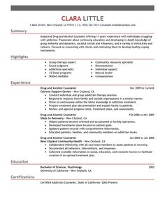 Big Drug And Alcohol Counselor Example   Emphasis 1 Design   Bad Example. Resume  Objective ...