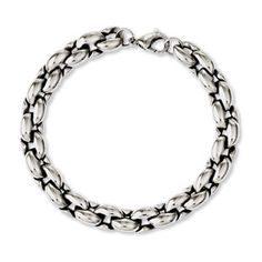 Men's 8MM Stainless Steel Chain Oval Link Bracelet Jewelry Available Exclusively at Gemologica.com