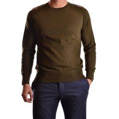 BURBERRY MEN'S MCBI056067O BROWN/GREEN WOOL SWEATER