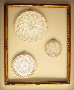 Great idea of how to display my grandmas old doilies-would be better with burlap behind frame...maybe a bold color