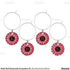 Ruby Red Diamonds Geometric Design Wine Glass Charm
