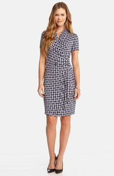Karen Kane Retro Print Cascade Faux Wrap Dress available at #Nordstrom