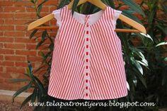 Tutorial y patrón descargable para hacer un vestido y cubrepañal para bebé en tres tallas