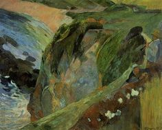 Flutist on the Cliffs by Paul Gauguin in oil on canvas, done in Now in Indianapolis Museum of Art. Find a fine art print of this Paul Gauguin painting. Paul Gauguin, Henri Matisse, Monet, Landscape Art, Landscape Paintings, Landscapes, Indianapolis Museum, Indianapolis Indiana, Google Art Project