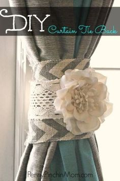 Looking for a cute shabby chic to tie those curtains back? This DIY Curtain Tie Back is not only a beautiful addition to your rooms decor, it is also insanely easy to make! With just a few supplies and about 15 minutes you can make this very same Tie Back.