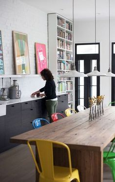 modern eat in kitchen, grey, white, timber, pops of colour
