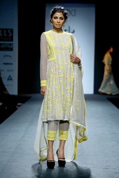 Vineet Bahl fall winter 2014-15. Yellow on grey.