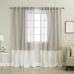 Shop for Aurora Home Linen Look Ruffle Curtain Panel Pair - 52 x Get free delivery On EVERYTHING* Overstock - Your Online Home Decor Outlet Store! Get in rewards with Club O! Color Block Curtains, Ruffle Curtains, Closet Curtains, Striped Curtains, Home Curtains, Hanging Curtains, Farmhouse Curtains, Custom Drapes, Drapery Panels