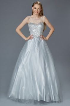 G2111 Silver Sheer Illusion High Neck Tulle Ballgown Prom Dress