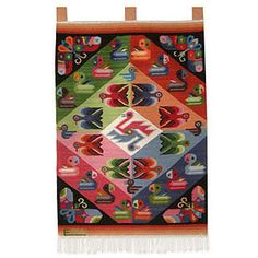 Novica Butterflies with Parakeets Wool Tapestry