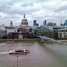 Thames Path: The Millennium Bridge and St Paul's in central London