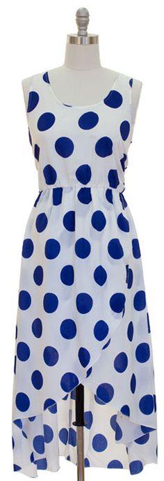 Wrap High-Low Dress - Blue Polka Dot, $35.00 by Boutique LeRaven