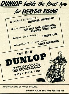 1954 Dunlop Motorcycle Tyre Ad