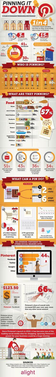 Pinning Down Pinterest User Demographics Infographic. Topic: social media.