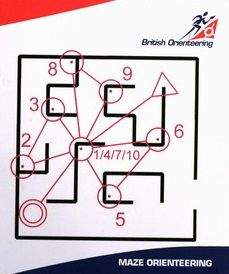 Orienteering maze. One possible design. I love orienteering mazes, just one problem they take quite a lot of time to set up so big ones are probably best used at events where they will be used all day. Pic from British Orienteering - Newsletter Archive