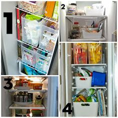 organize side by side fridge, pictures, bins, lazy susan, refrigerator