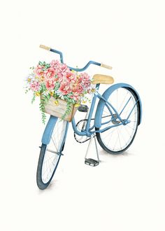 Blue Bicycle With Flowers In Basket Graphic Hoodie by Nadja - Unisex Pullover Black - LARGE - Front Print - Pullover Bicycle Art, Flower Basket, Iphone Skins, Image Hd, Framed Art Prints, Watercolor Paintings, Cool Designs, Creations, Scrapbooking