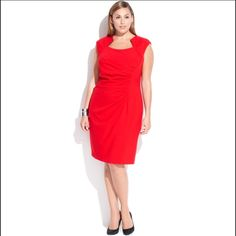 """[hp] • sexy red cutout dress • """"Office Style"""" Party Host Pick (6/13/16)  //Worn once to a wedding, still in fabulous condition! Like-new formal CalvinKlein dress is not only flirty but flattering. Gathered in midsection, cut at neckline provides just enough coverage for bustier figures. Capped sleeves. I got so many compliments on this beauty! Original price was $140. Calvin Klein Dresses"""