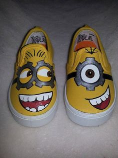 MInion Inspired Special Occasion Hand Painted Shoes by ZoSos Custom Vans Shoes, Custom Painted Shoes, Painted Canvas Shoes, Painted Sneakers, Painted Clothes, Hand Painted Shoes, Minion Shoes, Unique Gifts For Girls, Shoe Makeover