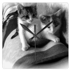 Customizable Kitten Square Wall Clock