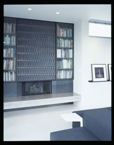 Bookshelves make everything better: Heath tile and built in bookshelves... Perfection