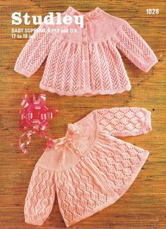 Studley 1028    baby matinee coats    vintage knitting pattern    17 - 19 inch chest sizes    4 ply and double knitting wool required to complete the