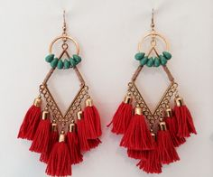 Turquoise and red stone tassel dangle earrings in boho chic / hippie / gypsy style. Check out our fantastic selection of boho jewelry at www.bohocandy.com
