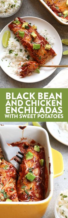 The Easiest Healthy Black Bean and Chicken Enchiladas with Roasted Sweet Potatoes - Fit Foodie Finds